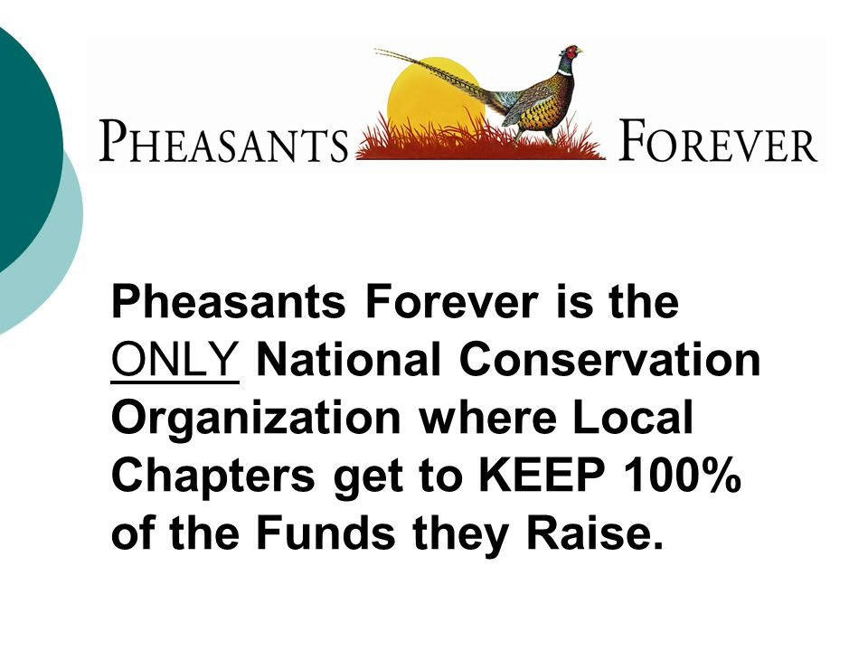Pheasants Forever is the ONLY National Conservation Organization where Local Chapters get to KEEP 100% of the Funds they Raise.