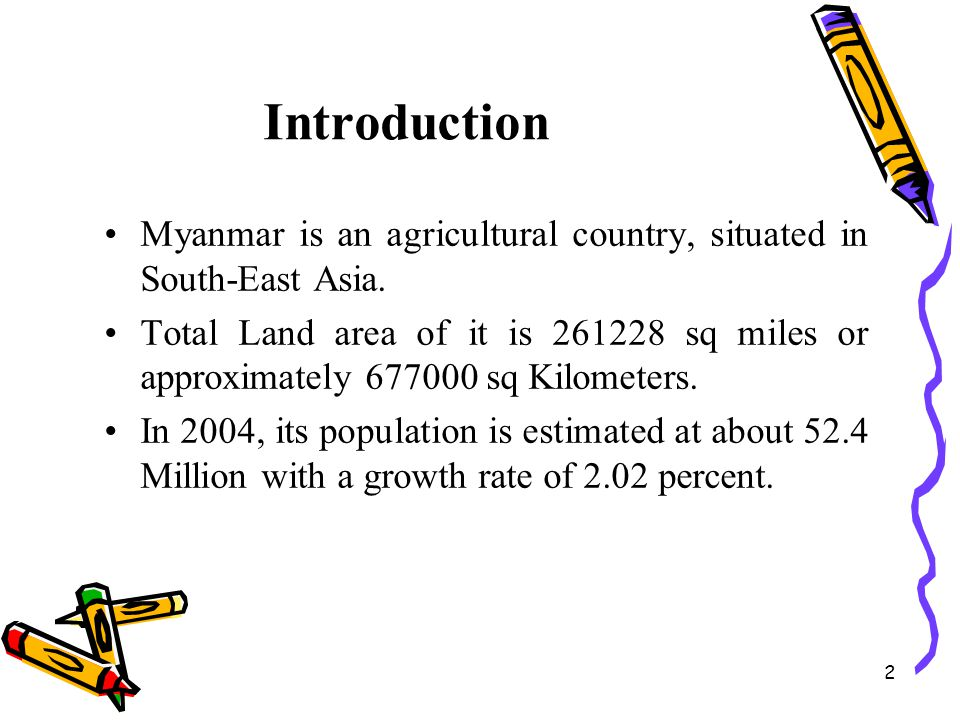 Introduction Myanmar is an agricultural country, situated in South-East Asia.