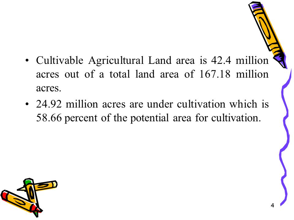 Cultivable Agricultural Land area is 42