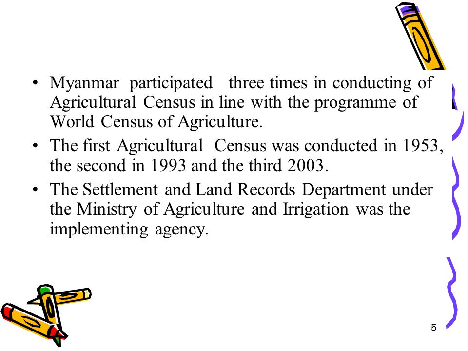 Myanmar participated three times in conducting of Agricultural Census in line with the programme of World Census of Agriculture.