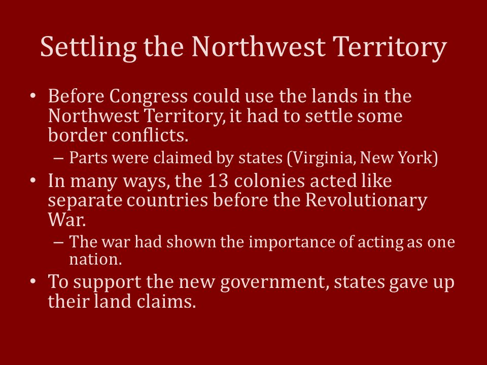 Settling the Northwest Territory
