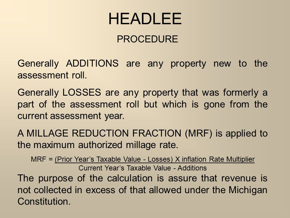 Current Year's Taxable Value - Additions