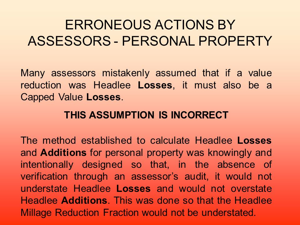ERRONEOUS ACTIONS BY ASSESSORS - PERSONAL PROPERTY
