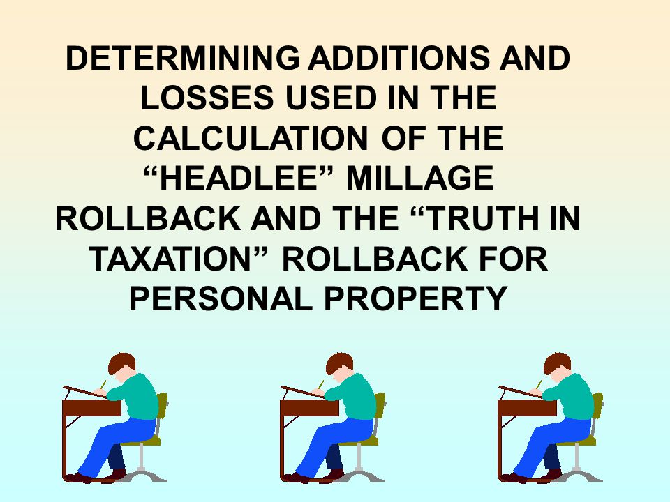 DETERMINING ADDITIONS AND LOSSES USED IN THE CALCULATION OF THE HEADLEE MILLAGE ROLLBACK AND THE TRUTH IN TAXATION ROLLBACK FOR PERSONAL PROPERTY
