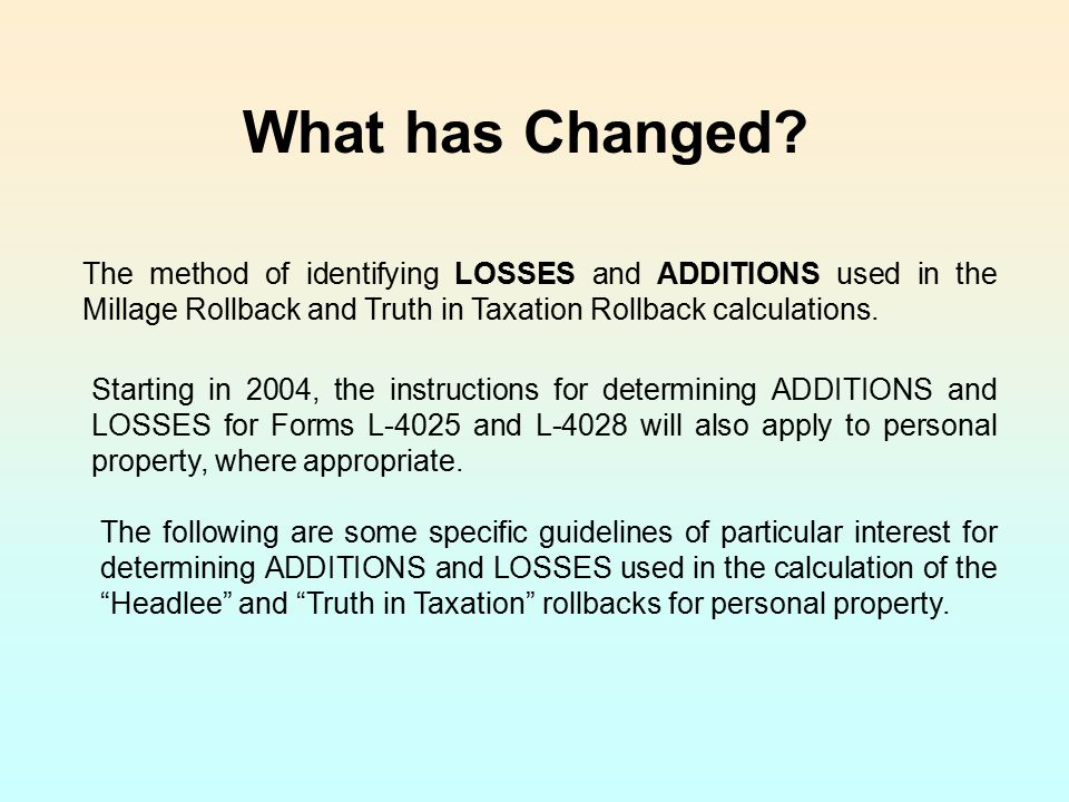 What has Changed The method of identifying LOSSES and ADDITIONS used in the Millage Rollback and Truth in Taxation Rollback calculations.