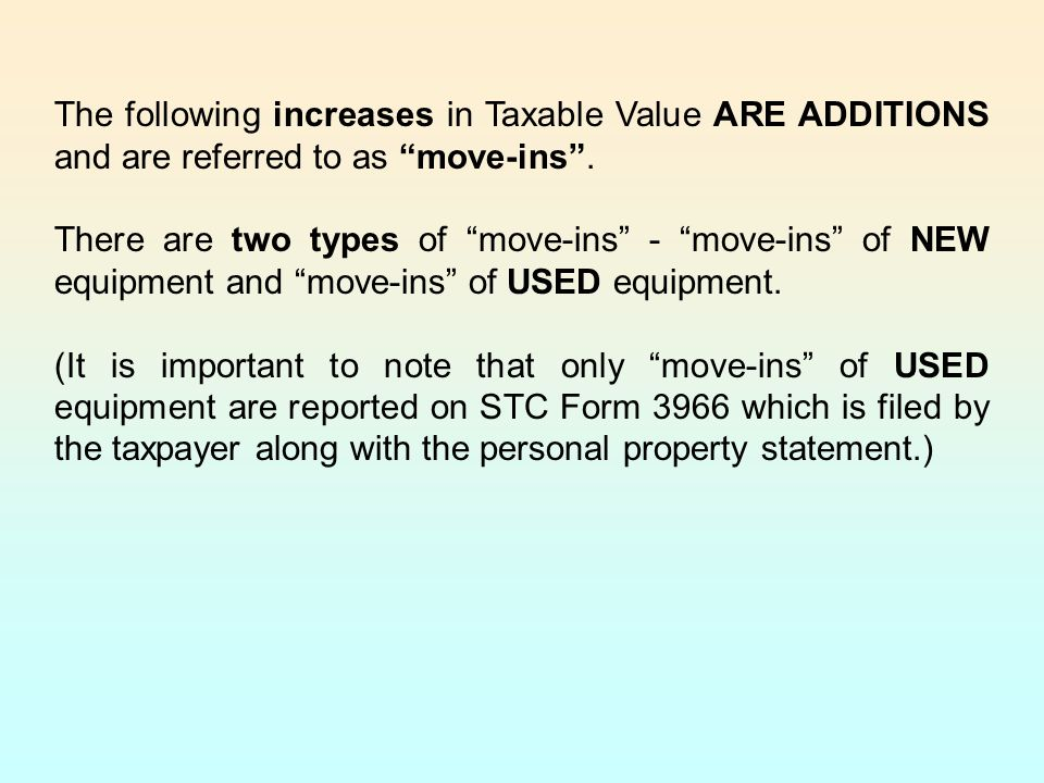 The following increases in Taxable Value ARE ADDITIONS and are referred to as move-ins .