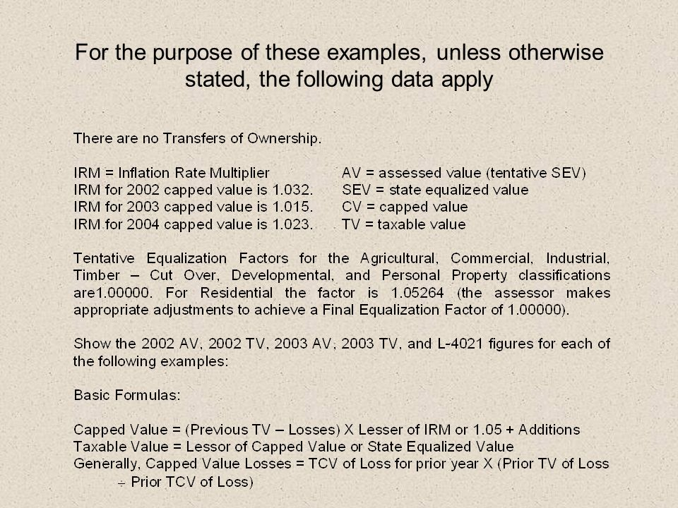 For the purpose of these examples, unless otherwise stated, the following data apply