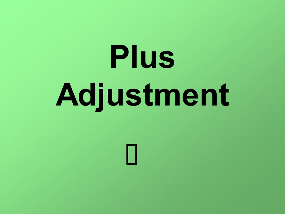 Plus Adjustment è