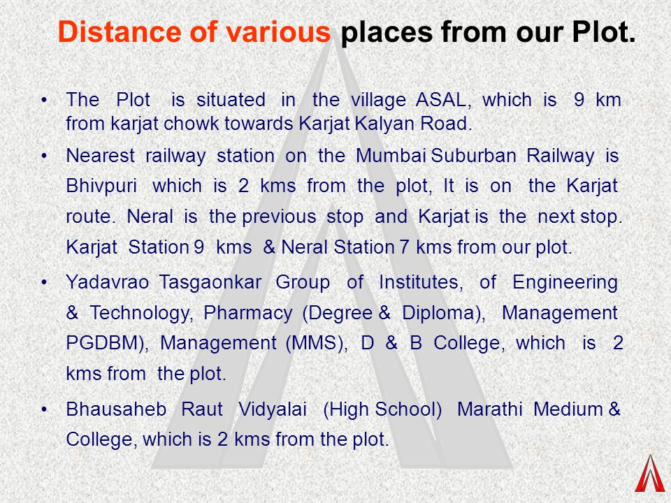 Distance of various places from our Plot.