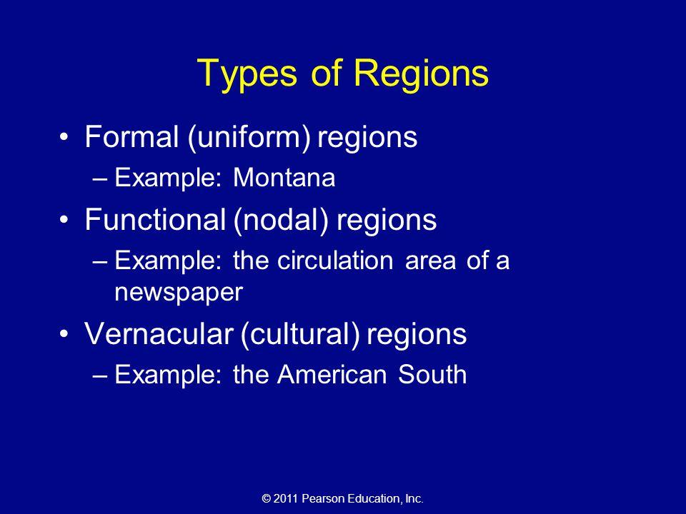 Types of Regions Formal (uniform) regions Functional (nodal) regions