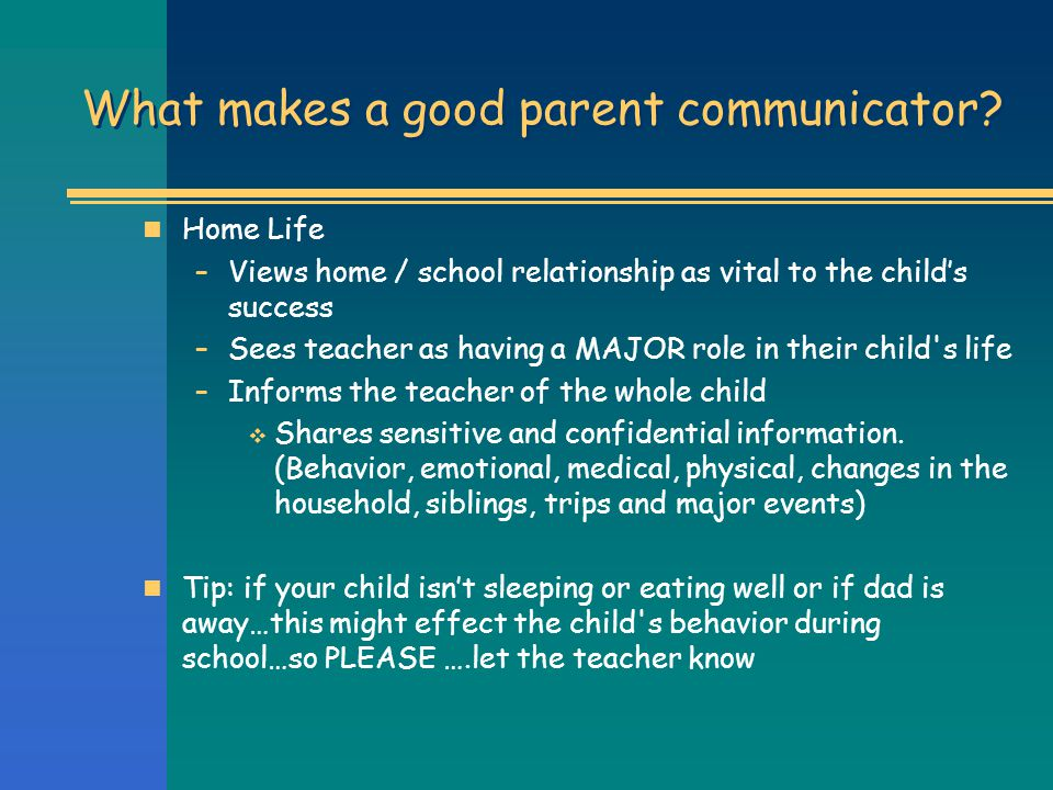What makes a good parent communicator