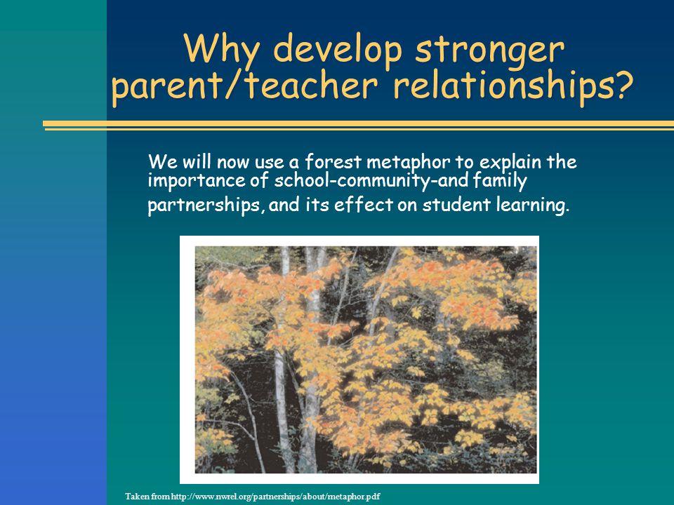 Why develop stronger parent/teacher relationships