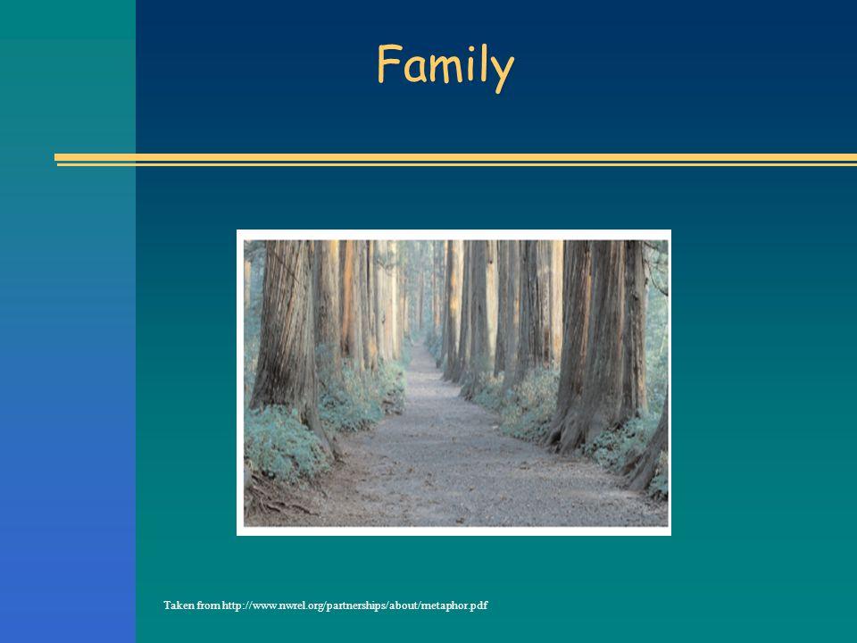 Family Taken from http://www.nwrel.org/partnerships/about/metaphor.pdf