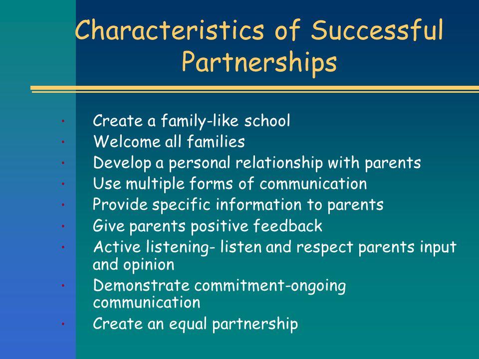 Characteristics of Successful Partnerships