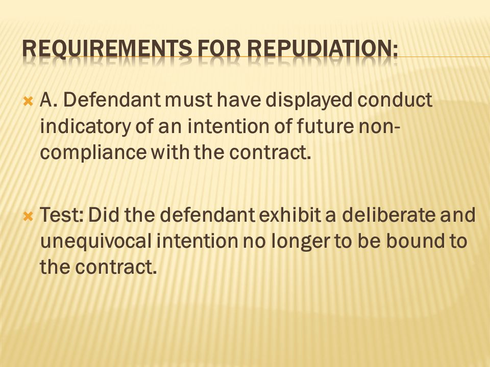 Law Of Contract Unit 14 Repudiation. - Ppt Download