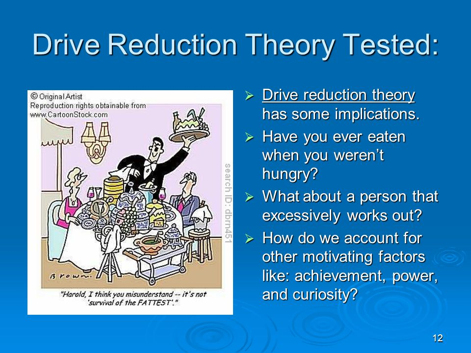 Drive Reduction Theory Tested: