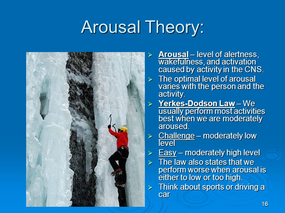 Arousal Theory: Arousal – level of alertness, wakefulness, and activation caused by activity in the CNS.