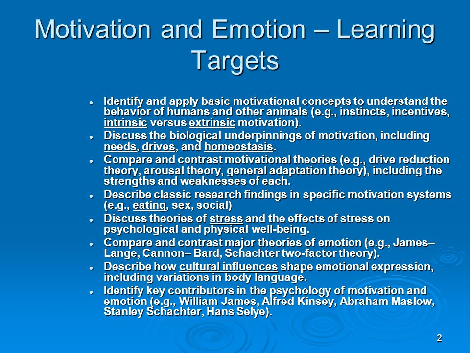 Motivation and Emotion – Learning Targets