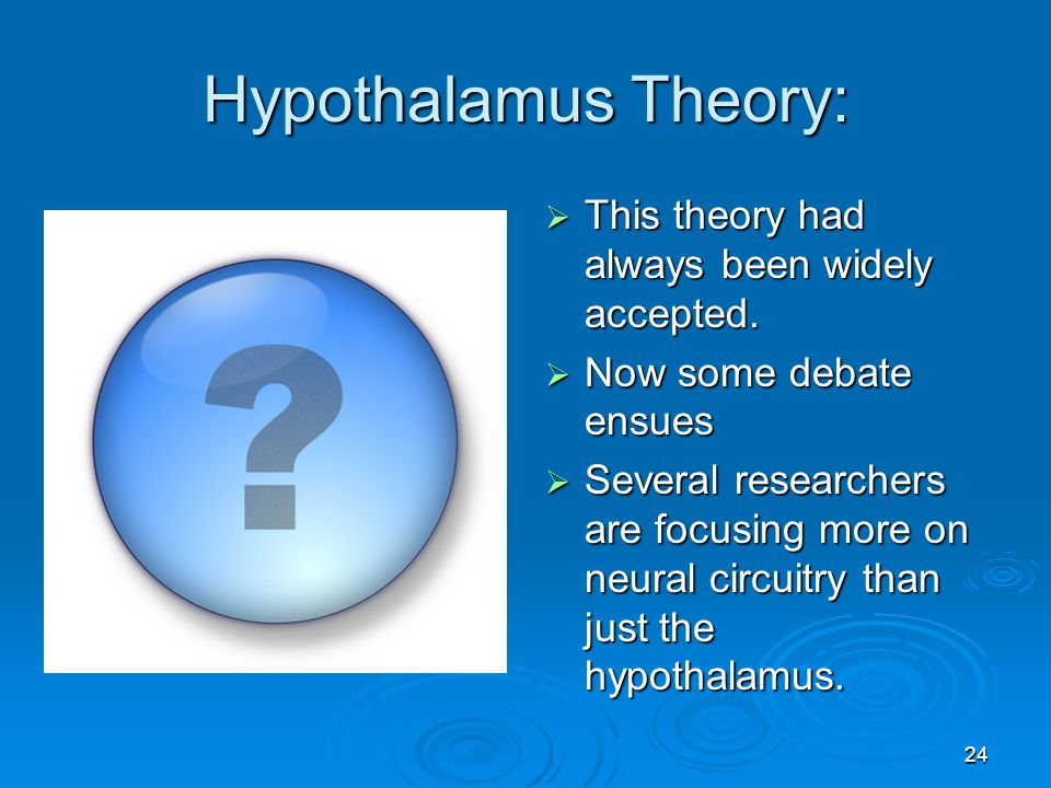 Hypothalamus Theory: This theory had always been widely accepted.