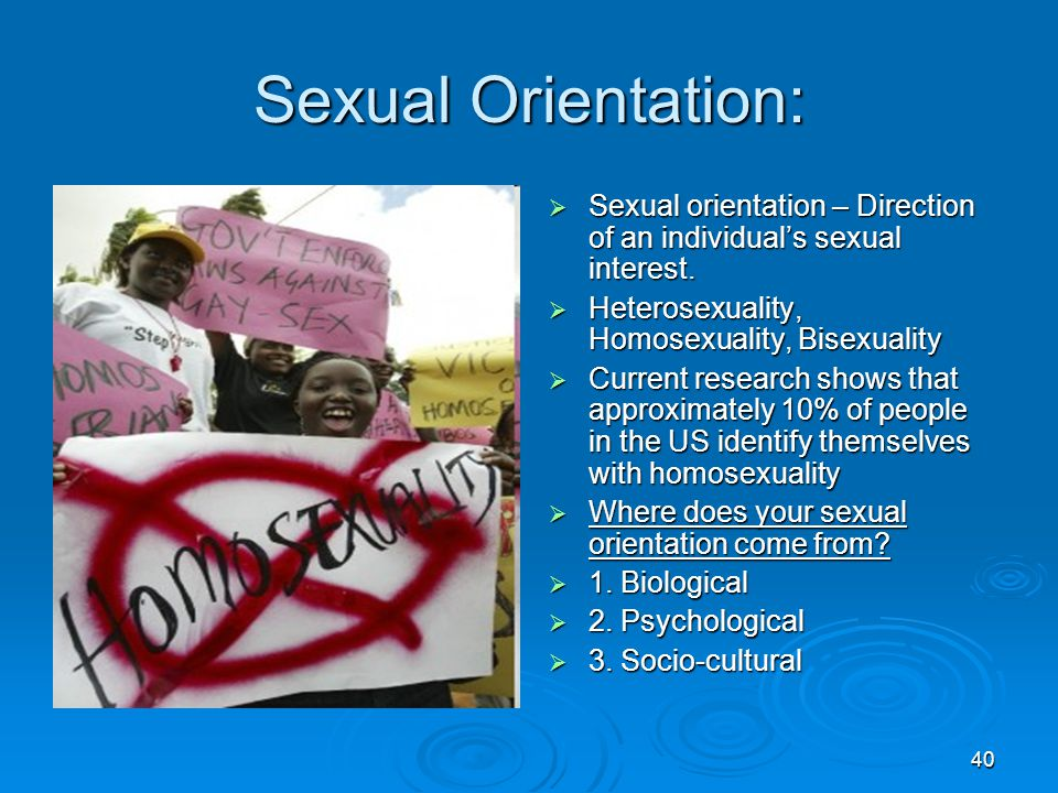 Sexual Orientation: Sexual orientation – Direction of an individual's sexual interest. Heterosexuality, Homosexuality, Bisexuality.