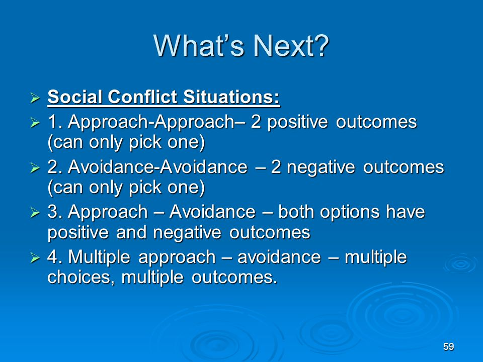 What's Next Social Conflict Situations: