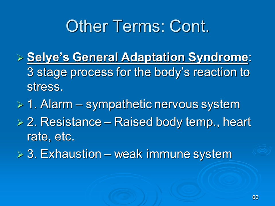 Other Terms: Cont. Selye's General Adaptation Syndrome: 3 stage process for the body's reaction to stress.