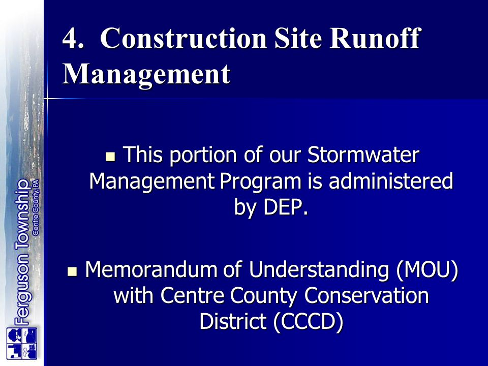 4. Construction Site Runoff Management