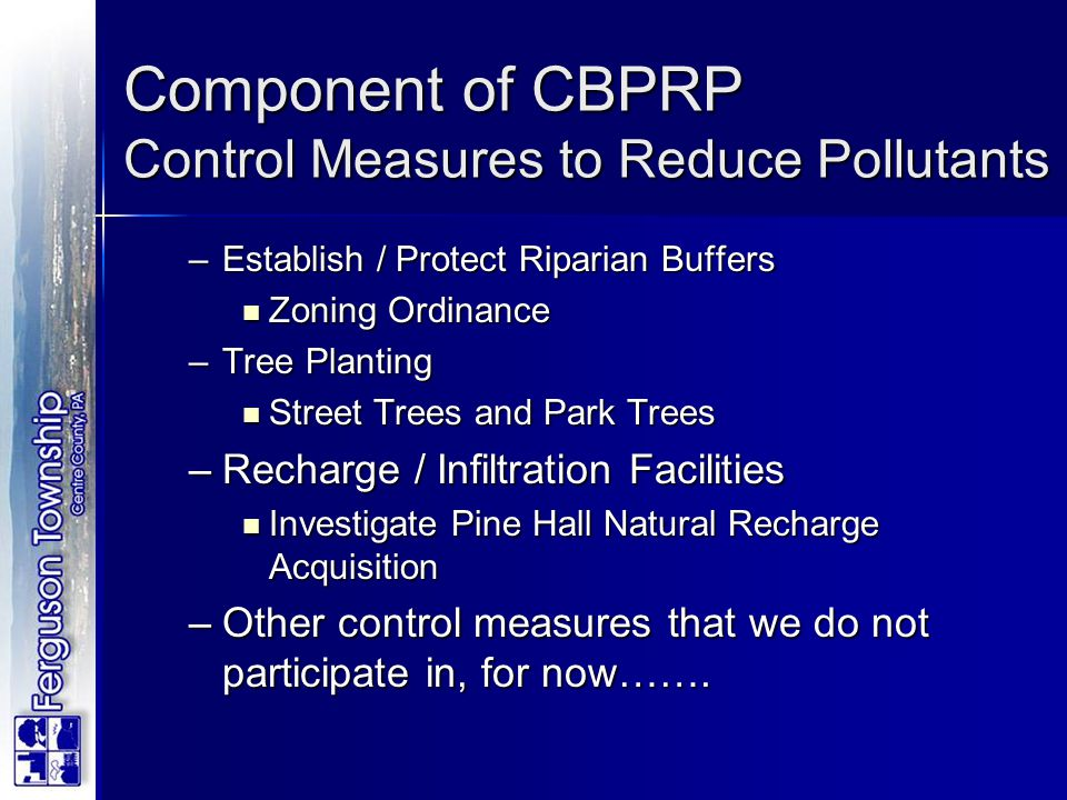 Component of CBPRP Control Measures to Reduce Pollutants
