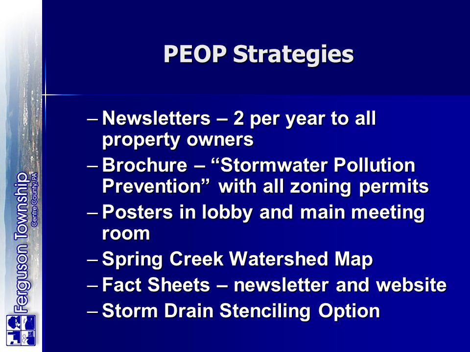 PEOP Strategies Newsletters – 2 per year to all property owners