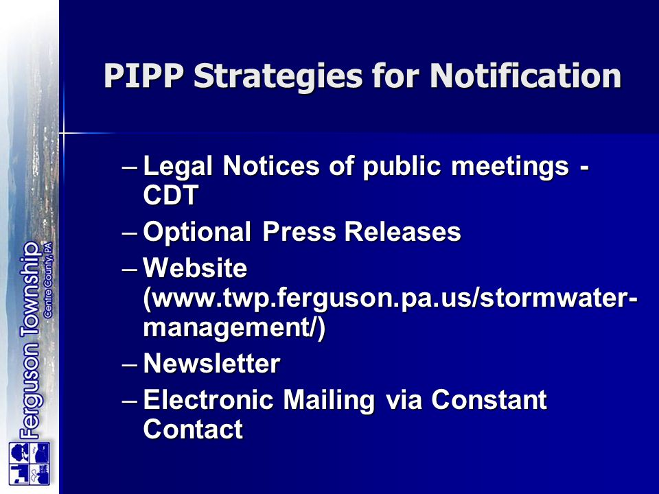 PIPP Strategies for Notification