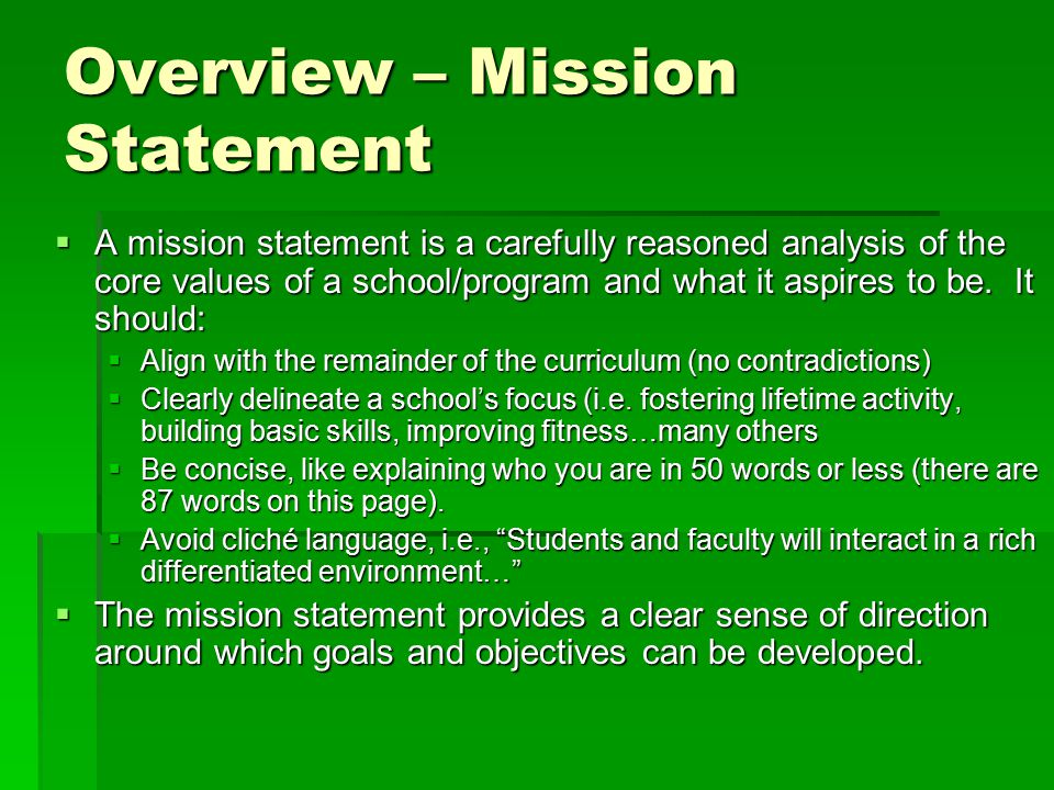 Overview – Mission Statement