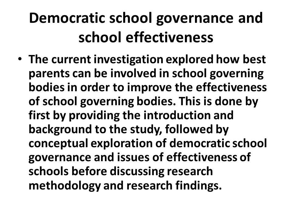 Democratic school governance and school effectiveness