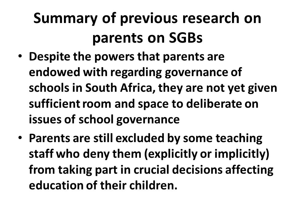 Summary of previous research on parents on SGBs