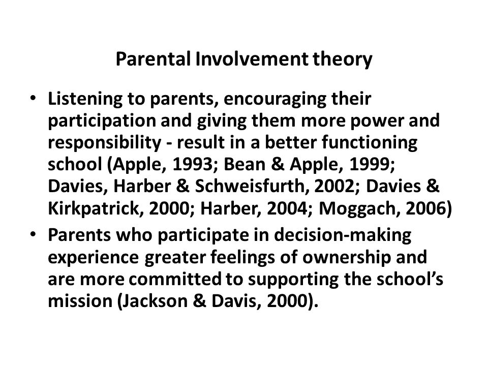 Parental Involvement theory