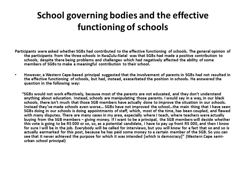 School governing bodies and the effective functioning of schools