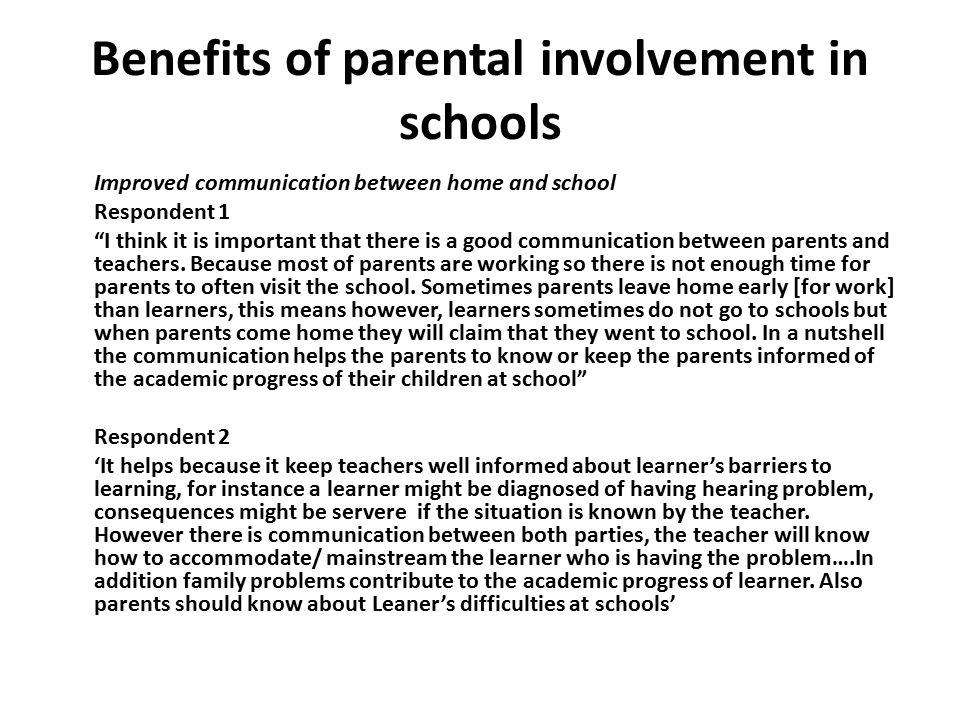 Benefits of parental involvement in schools