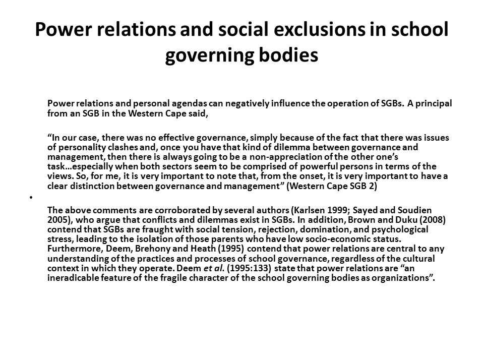 Power relations and social exclusions in school governing bodies