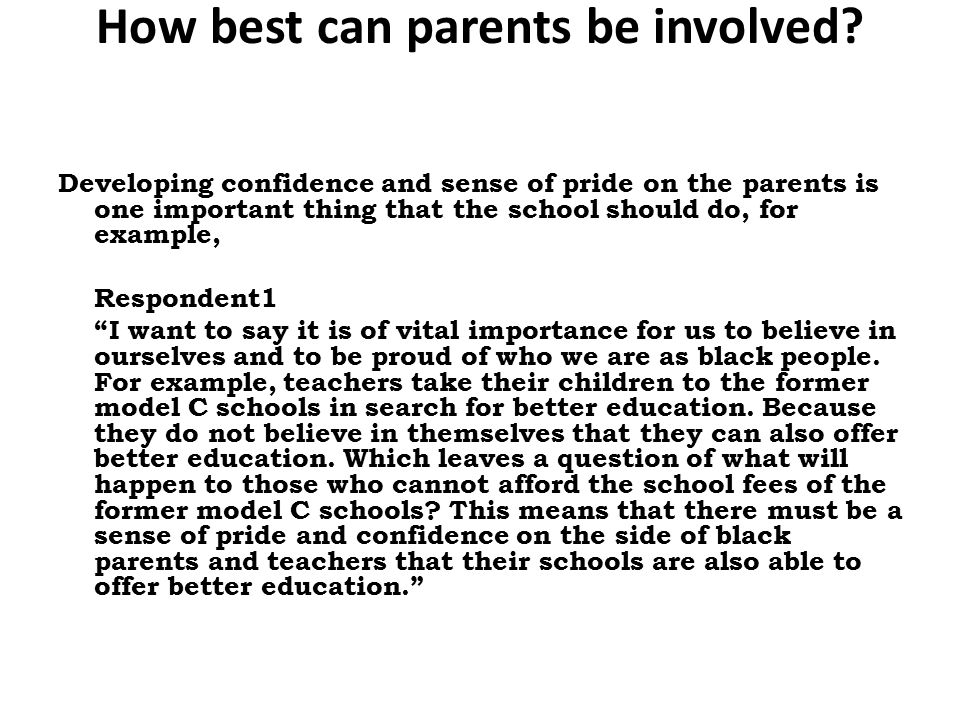 How best can parents be involved