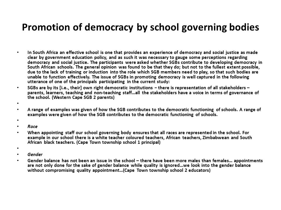 Promotion of democracy by school governing bodies