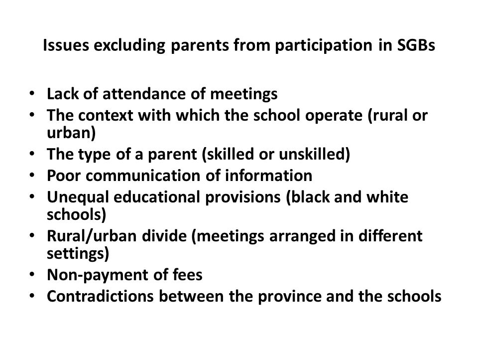 Issues excluding parents from participation in SGBs
