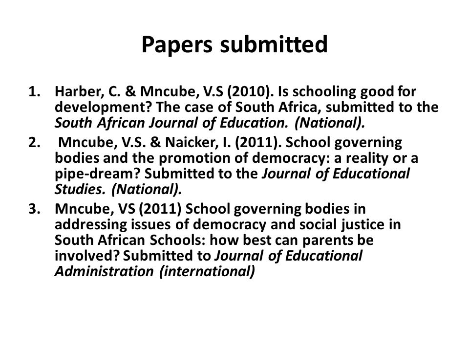 Papers submitted