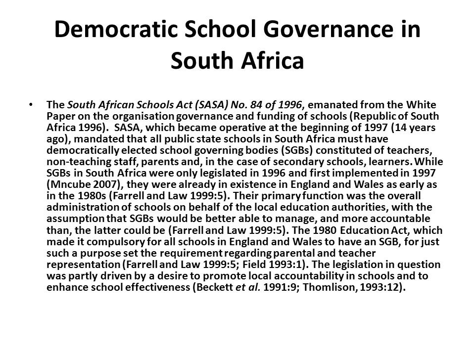 Democratic School Governance in South Africa