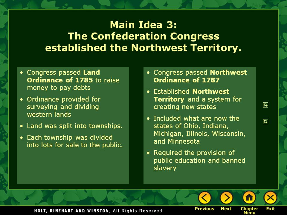 Main Idea 3: The Confederation Congress established the Northwest Territory.