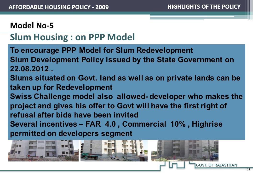 Slum Housing : on PPP Model