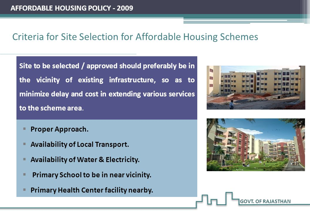 Criteria for Site Selection for Affordable Housing Schemes