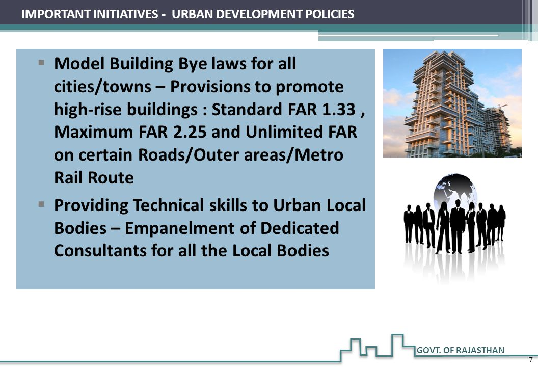 IMPORTANT INITIATIVES - URBAN DEVELOPMENT POLICIES
