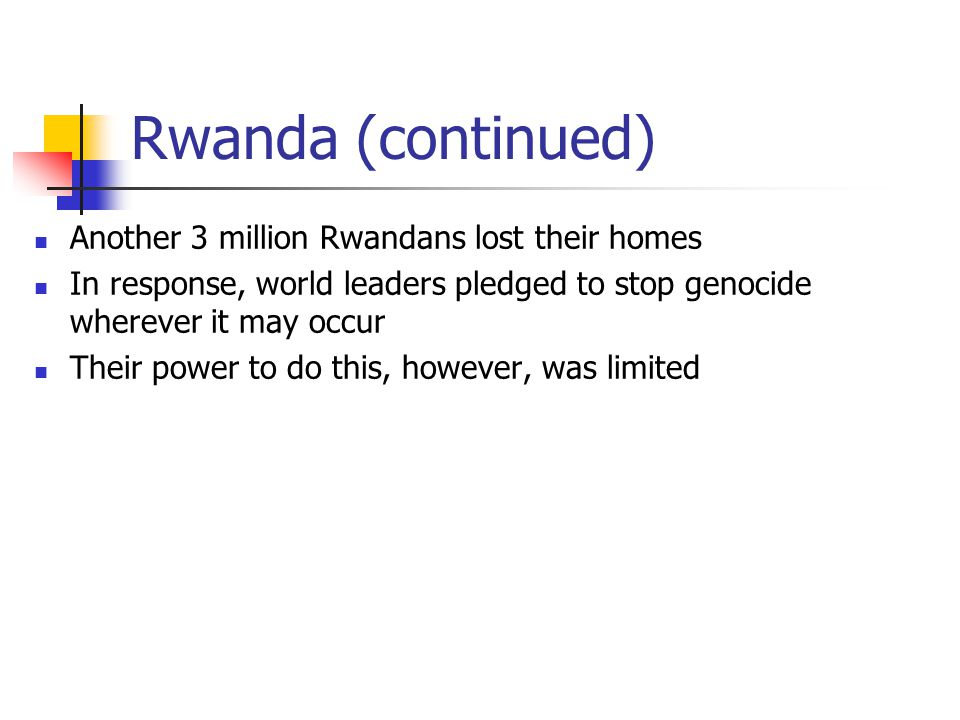 Rwanda (continued) Another 3 million Rwandans lost their homes