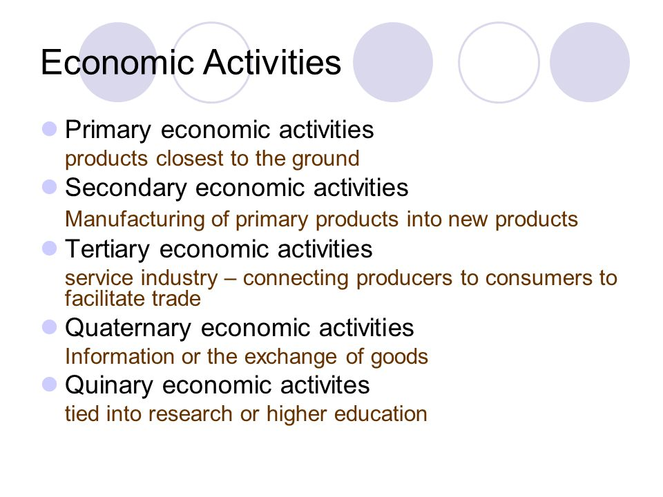 Economic Activities Primary economic activities