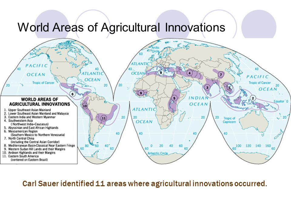 World Areas of Agricultural Innovations