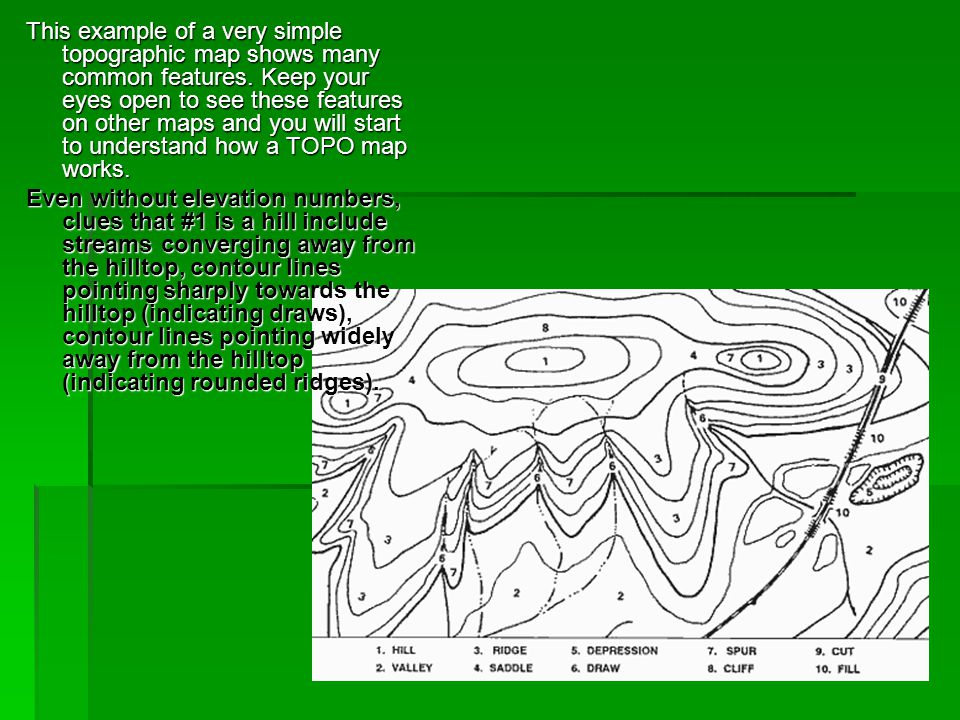 This example of a very simple topographic map shows many common features. Keep your eyes open to see these features on other maps and you will start to understand how a TOPO map works.